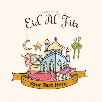 Banner de arte doodle islámico para eid al fitr
