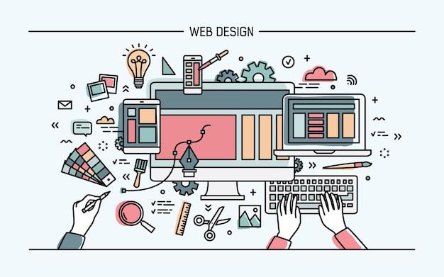Banner de arte de línea de diseño web