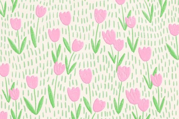 Banner de arte de línea de fondo de campo de tulipán rosa