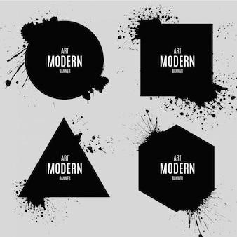 Banner de arte moderno con explosión splash