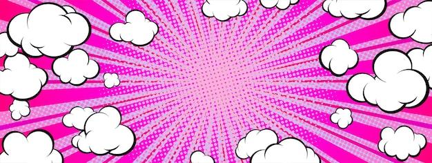 Banner de arte pop en formato horizontal. puesta de sol púrpura con nubes.