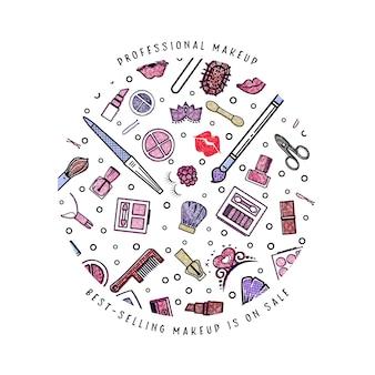 Banner de artista de maquillaje redondo