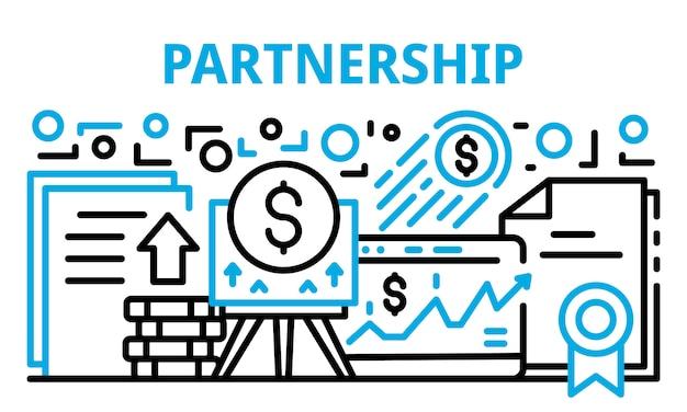 Banner de asociación financiera, estilo de contorno