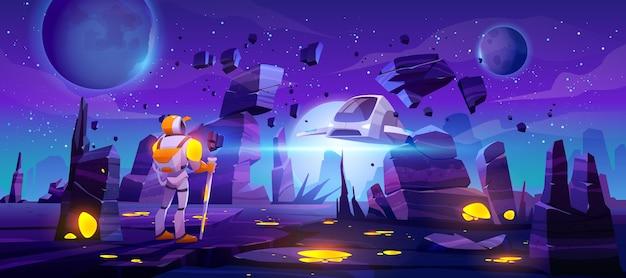 Banner con astronauta en planeta alienígena y nave espacial voladora