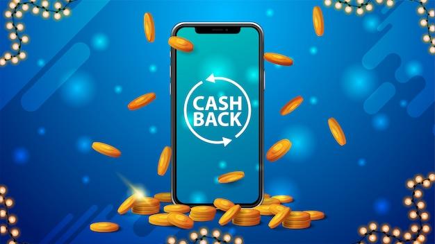 Banner azul de devolución de dinero con un gran teléfono inteligente con monedas de oro alrededor y monedas de oro cayendo desde la parte superior