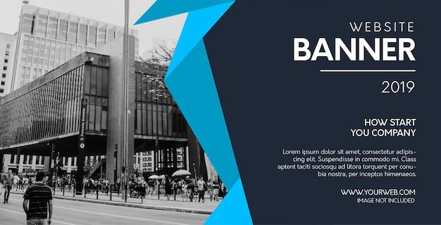 Banner azul moderno del sitio web