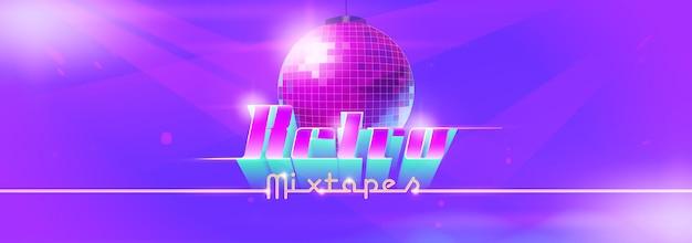 Banner de baile retro mixtape con bola de discoteca