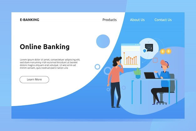 Banner de banca en línea y ilustración de página de aterrizaje