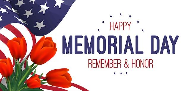 Banner con bandera americana y tulipanes. día conmemorativo.