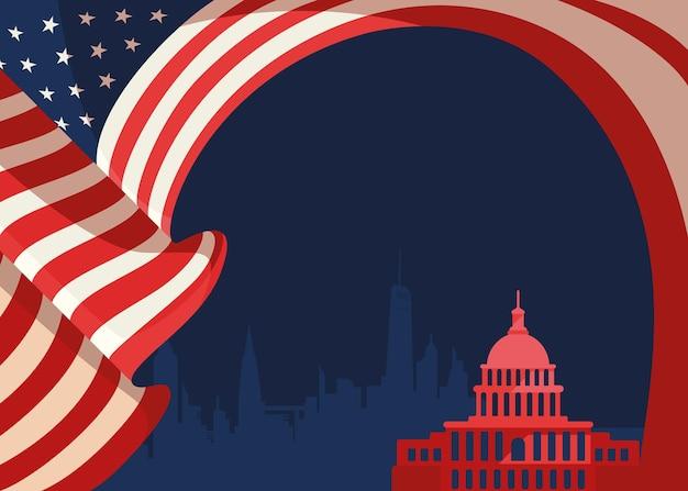 Banner con bandera y silueta del capitolio de estados unidos. arte conceptual del día festivo de estados unidos.