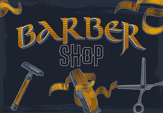 Banner de barbería dibujado a mano.