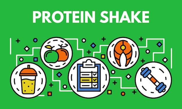 Banner de batido de proteínas, estilo de contorno