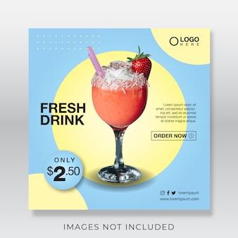 Banner de bebida de jugo fresco saludable para plantilla de publicación de redes sociales