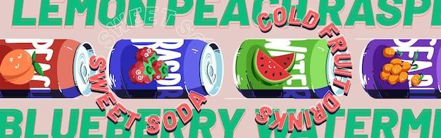 Banner de bebidas de frutas frías de soda dulce