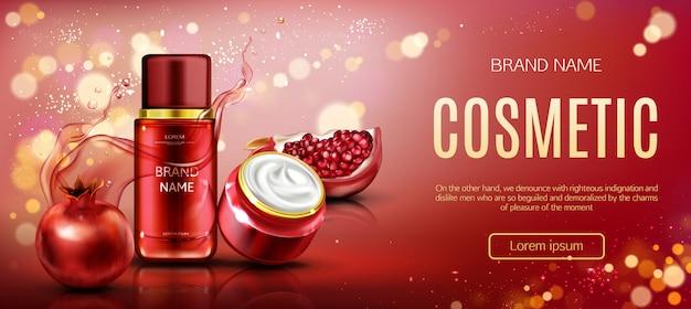 Banner de belleza de botellas cosméticas de granada