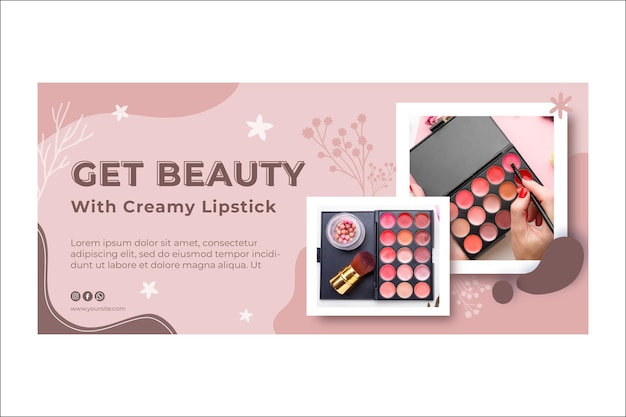 Banner de belleza cosmética maquillaje natural
