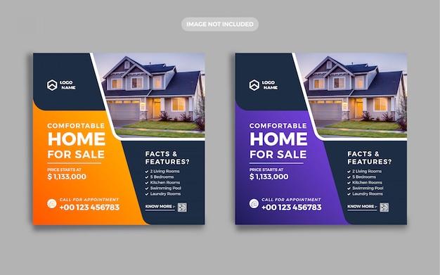 Banner de bienes raíces publicación en redes sociales