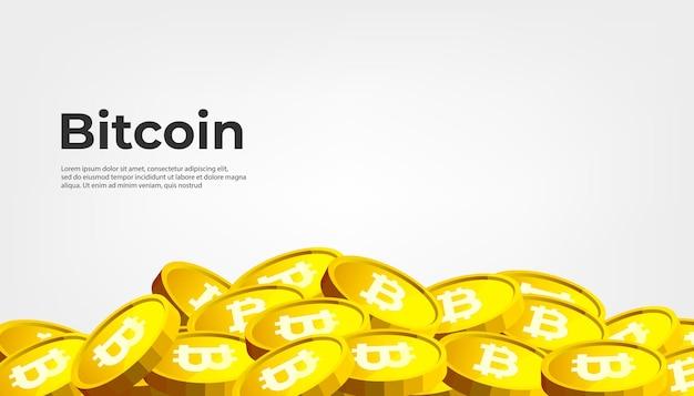 Banner de bitcoin btc. fondo de banner de concepto de criptomoneda bitcoin.