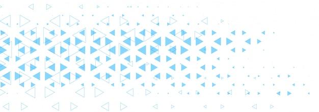 Banner blanco abstracto con diseño de formas de triángulo azul