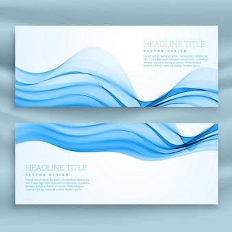 Banner blanco y azul con formas onduladas