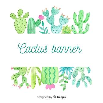 Banner en blanco de cactus en acuarela