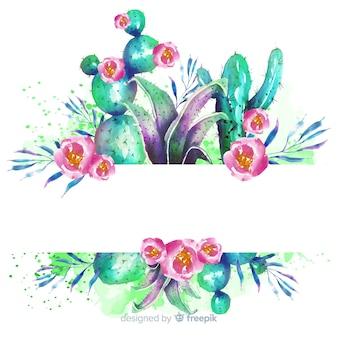 Banner en blanco con cactus en acuarela