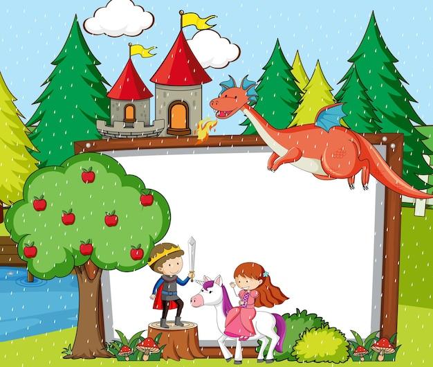 Banner en blanco en la escena del bosque con elementos y personajes de dibujos animados de cuentos de hadas
