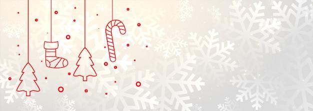 Banner blanco de feliz navidad con decoración de navidad