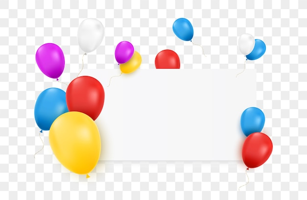 Banner en blanco con globos de colores y aislado.