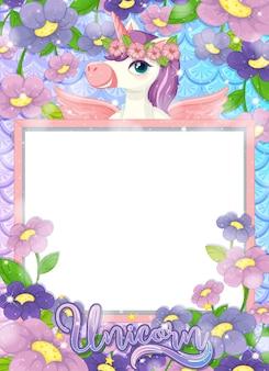 Banner en blanco con hermoso personaje de dibujos animados de pegaso