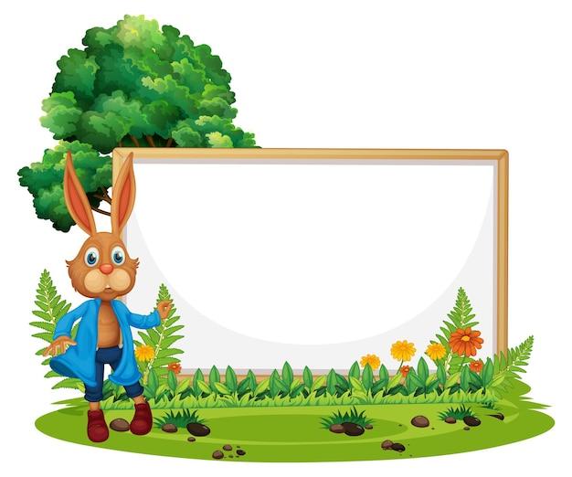 Banner en blanco en el jardín con un conejo aislado