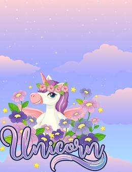 Banner en blanco con lindo unicornio en el cielo pastel