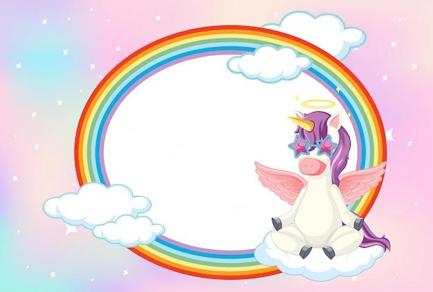 Banner en blanco con lindo unicornio en el fondo del cielo en colores pastel