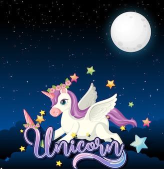 Banner en blanco con lindo unicornio en fondo de cielo nocturno