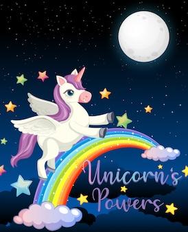 Banner en blanco con lindo unicornio en el fondo del cielo nocturno