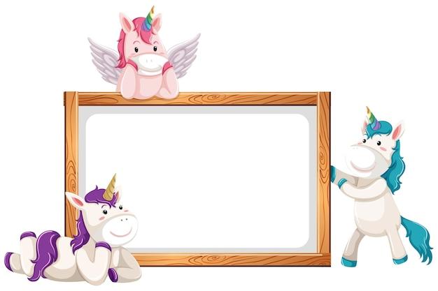 Banner en blanco con lindos unicornios aislado sobre fondo blanco.