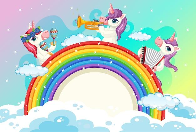 Banner en blanco con lindos unicornios en el fondo del cielo pastel