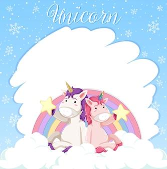 Banner en blanco con lindos unicornios sentado en la nube