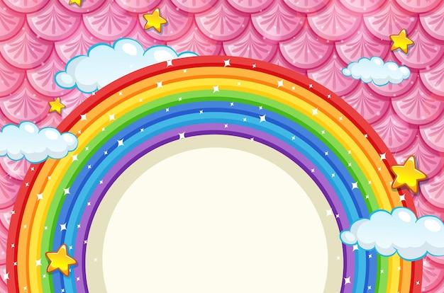 Banner en blanco con marco de arco iris sobre fondo de escamas de pescado rosa