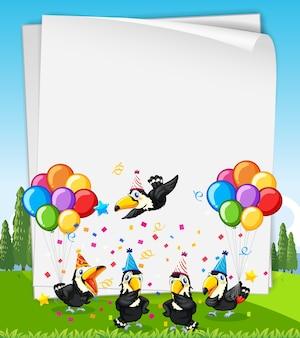 Banner en blanco con muchos pájaros en tema de fiesta