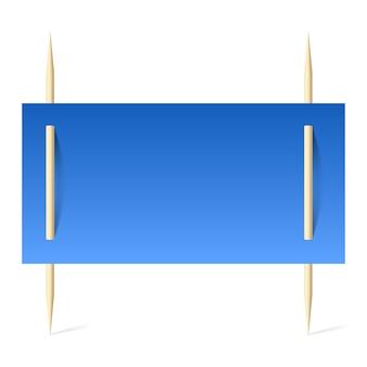 Banner en blanco con papel azul en palillos de dientes