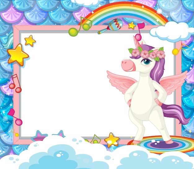 Banner en blanco con personaje de dibujos animados lindo unicornio
