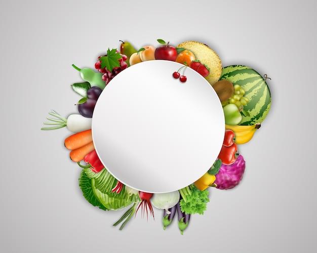 Banner en blanco redondo sobre fondo de frutas y verduras