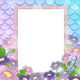 Banner en blanco sobre fondo de escamas de pez arco iris con muchas flores