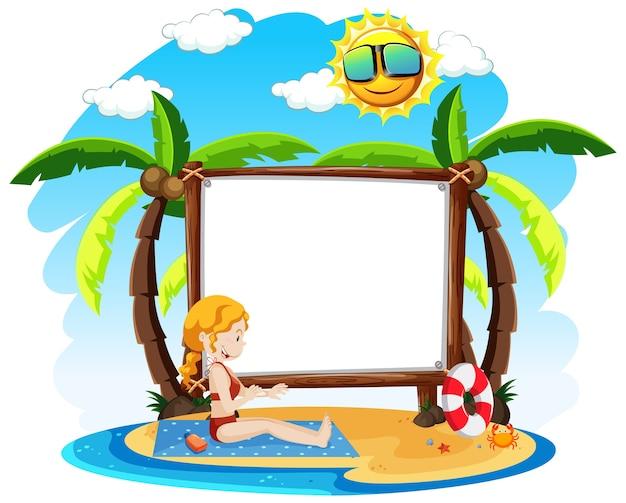 Banner en blanco con tema de verano