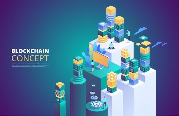 Banner de blockchain. bloques digitales isométricos.