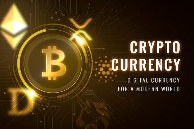 Banner de blog de blockchain de código abierto de vector de plantilla de finanzas de criptomonedas