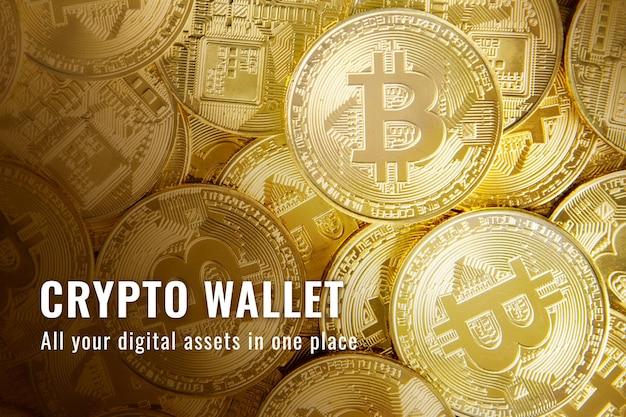 Banner de blog de blockchain de código abierto de vector de plantilla de finanzas de crypto wallet