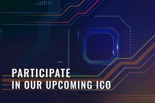 Banner de blog de finanzas digitales de vector de plantilla de inversión crypto ico