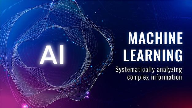 Banner de blog de tecnología disruptiva de vector de plantilla de aprendizaje automático ai